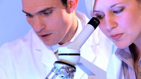 Young caucasian healthcare staff working with laboratory equipment Footage