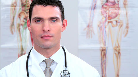 Male doctor working in clinical healthcare Footage