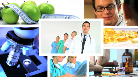 Montage of medical & healthcare scenes/images Footage
