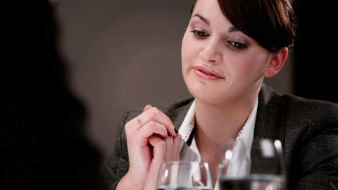 Healthy living young woman attending a business interview Stock Video Footage