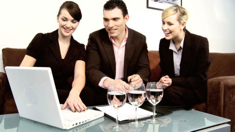 Healthy living young business colleagues working in advertising Footage