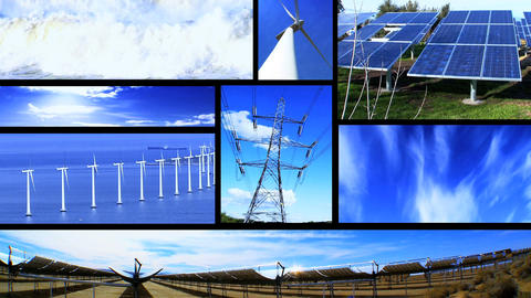 Montage of moving images of renewable energy & power sources Stock Video Footage