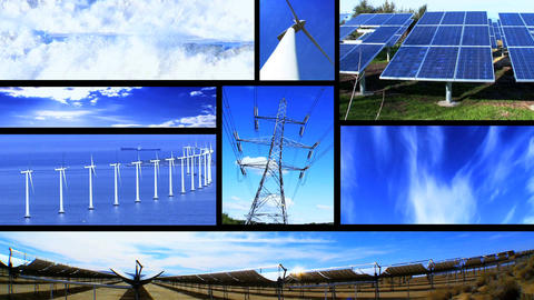 Montage of moving images of renewable energy & power sources Footage