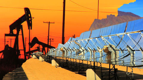 Montage of moving images of choice between fossil fuel &... Stock Video Footage