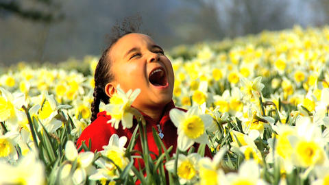 Girl in Flower Field Stock Video Footage