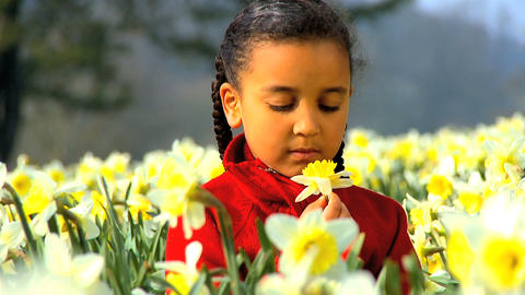 Girl Smelling Flower Slowly Footage