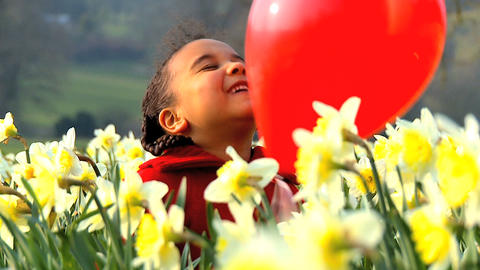 Girl and Red Balloon Stock Video Footage
