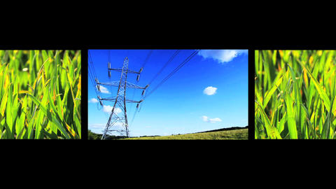 Montage of images showing sources of environmental power Stock Video Footage