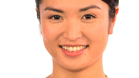 Portrait of oriental japanese girl confident in beauty from healthy living Footage