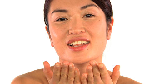 Portrait of oriental japanese girl confident in beauty... Stock Video Footage
