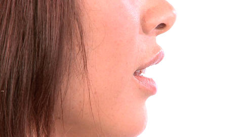 Close-up of western oriental girl confident in beauty... Stock Video Footage