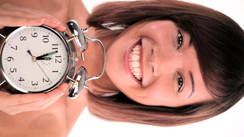 Vertical portrait of western oriental girl with timely... Stock Video Footage