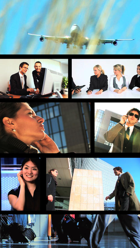 Vertical montage of business & travel scenes/images Stock Video Footage
