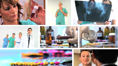 Montage of medical healthcare scenes & images Footage