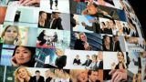Revolving Globe Montage Of Postcards Of Business Images Spanning The World stock footage