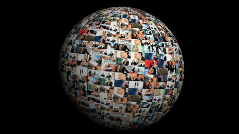 Revolving globe montage of postcards of business images spanning the world ภาพวิดีโอ