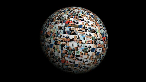 Revolving globe montage of postcards of business images... Stock Video Footage
