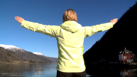 Young female celebrates achieving her ambitions Stock Video Footage