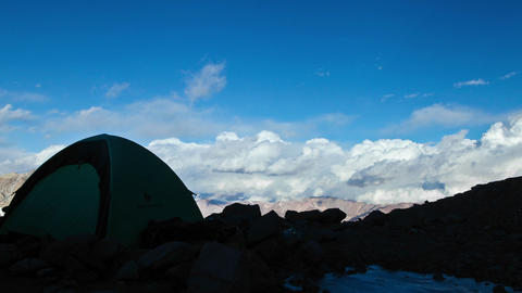 Aconcagua Time lapse - high camp with tent - sunset Stock Video Footage