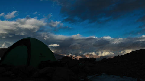 Aconcagua Time lapse - high camp with tent - sunset Footage