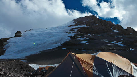 Aconcagua Time Lapse with racing clouds at camp Stock Video Footage
