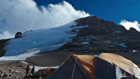Aconcagua Time Lapse with racing clouds at camp Footage