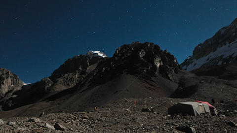 Aconcagua Time Lapse Plaza Argentina at night with stars Stock Video Footage