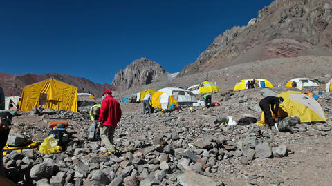 Aconcagua Time Lapse Plaza Argentina with tents Footage