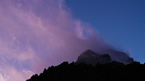 Aconcagua Time Lapse - Close up of the summit at dusk Stock Video Footage
