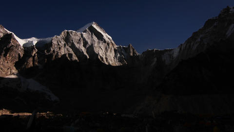 Sun rise on basecamp wide shot Stock Video Footage