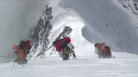 Sherpas and Climbers in heavy winds Footage
