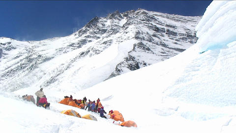 Camp on north side of Everest Stock Video Footage