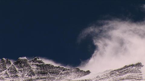 Wind rolling off Everest summit, big snow plume Footage