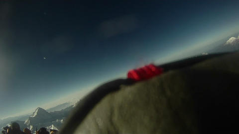 Climber does 180 on top of Everest Stock Video Footage