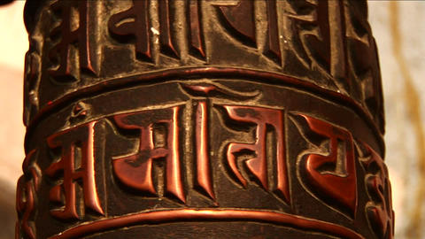 Pan Up Turning Prayer Wheels stock footage