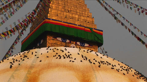 Boudhanath stupa zoom in on eyes Stock Video Footage