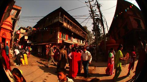 Fisheye view of activity on street corner Stock Video Footage