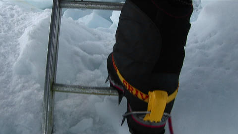 Crampons on ladder rungs Stock Video Footage