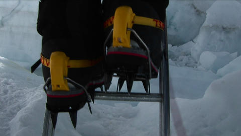 Crampons on ladder rungs Footage