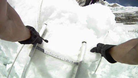 POV climber descending ladder Stock Video Footage