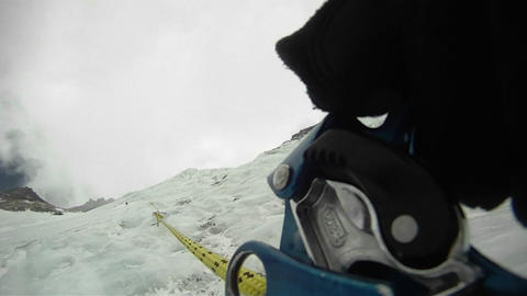 POV close-up of ascender Stock Video Footage