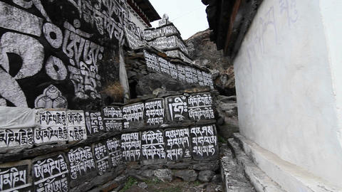 Large stone monument with Sanskrit. Stock Video Footage