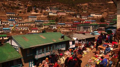 Pan down to namche bazaar market in Nepal. Stock Video Footage