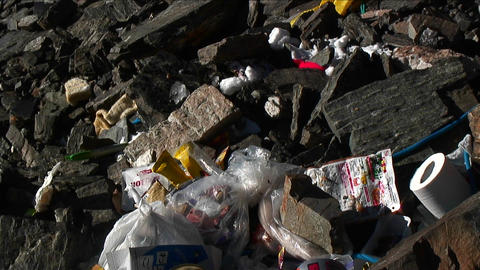 Garbage on mount Everest, camp four Stock Video Footage