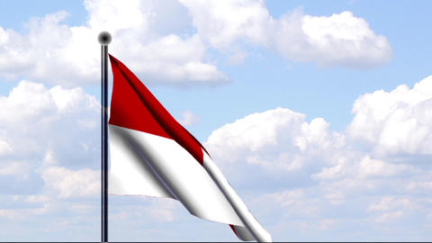 Animated Flag of Indonesia / Indonesien Stock Video Footage