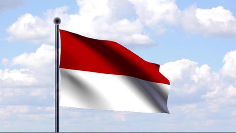 Animated Flag of Indonesia / Indonesien Stock Video Footage