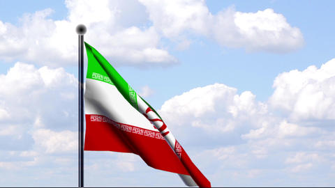 Animated Flag of Iran / Animierte Flagge von Iran Stock Video Footage