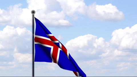 Animated Flag of Iceland / Island Stock Video Footage