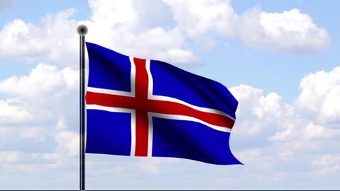 Animated Flag of Iceland / Island Stock Video Footage