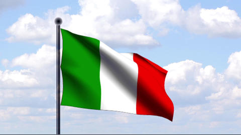 Animated Flag of Italy / Italien Stock Video Footage